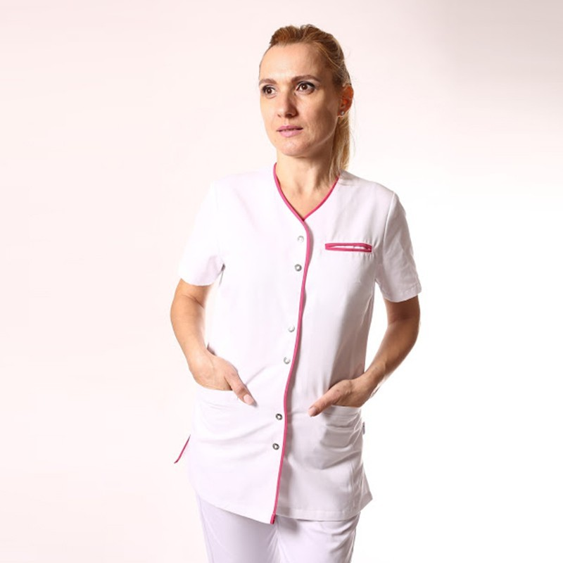 Blouse médicale blanche liseré long - Clinic Dress manches courtes confort