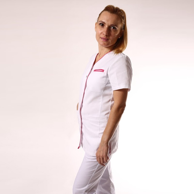 Blouse médicale blanche liseré long - Clinic Dress promo contortable manches courtes