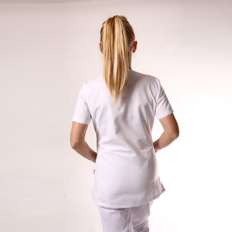 Blouse médicale blanche liseré long - Clinic Dress promotions confortables pas cher