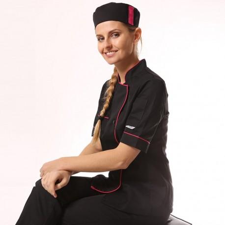 Veste de cuisine femme liseré fushia Elisa - MC