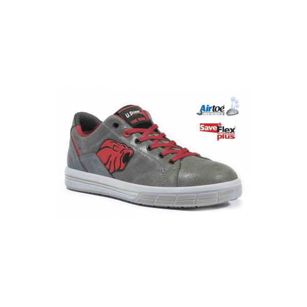 Basket de sécurité S3 grise et rouge cuir. Upower technologie. Coque de sécurité performante.