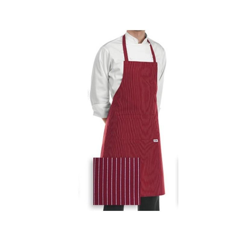 Tablier de cuisine à bavette bordeaux à rayures blanches