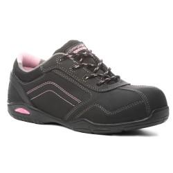 Chaussures de sécurité femme noir et rose S3. Baskets de sécurité féminine.