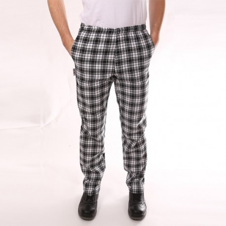 Pantalon de Cuisine Carreaux Noir pas cher