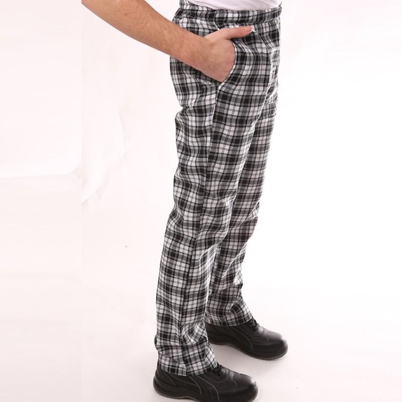 Pantalon de Cuisine Carreaux Noir promotion