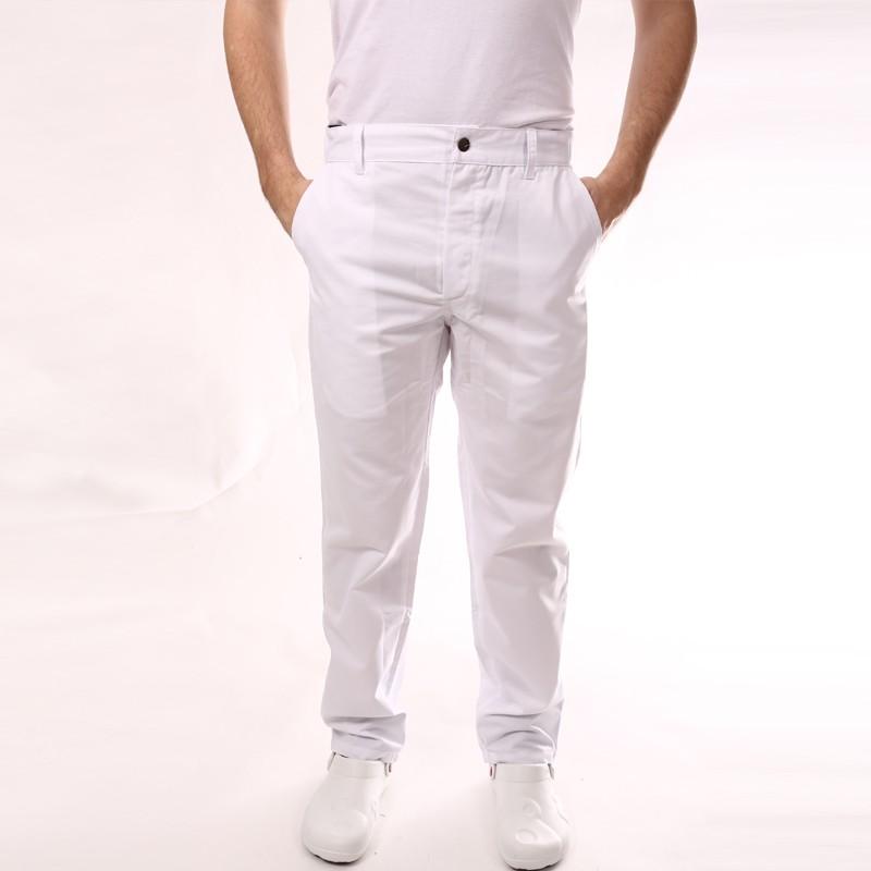 Pantalon de Cuisine Blanc 1 pli homme promotion