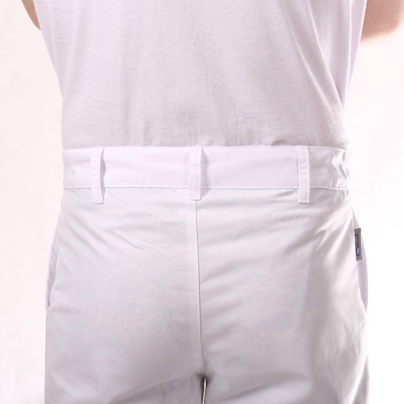 Pantalon de Cuisine Blanc 1 pli hommes femmes pas cher