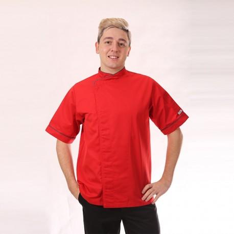 Veste de cuisine rouge liseré gris - MC, taille droite, parfait pour l'été