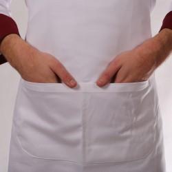 Tablier blanc de cuisine deux poches