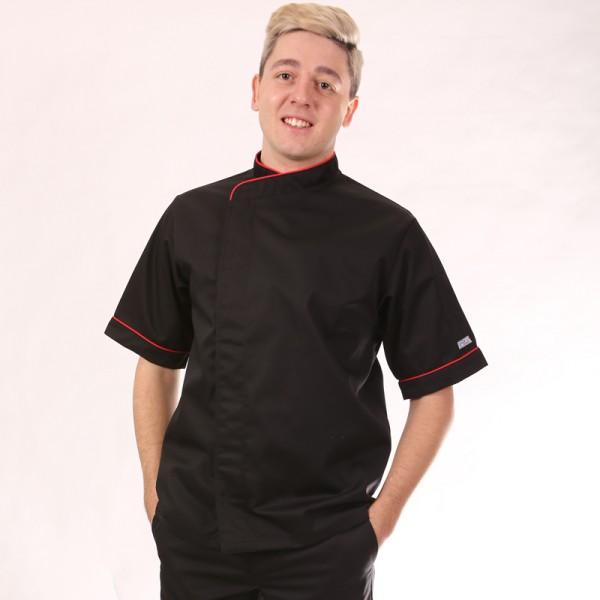Giacca da cuoco nera con bordi rossi - Mc o ML