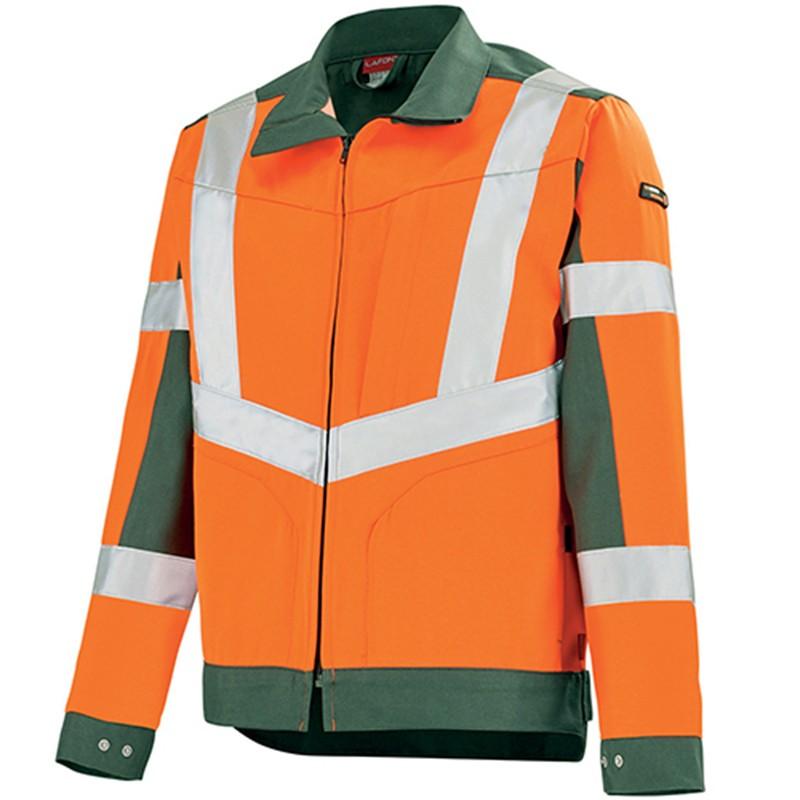 Blouson de travail orange fluo ORANGE HIVI/VERT FONCE 3HVI00CP