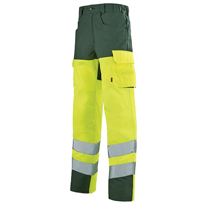 Pantalon de travail jaune fluo JAUNE HIVI/ VERT FONCE 1HVI77CP