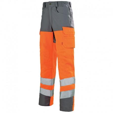 Pantalon haute visibilité fluo ORANGE HIVI/ACIER Homme pas cher