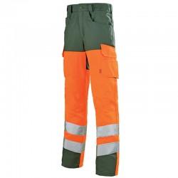 Pantalon haute visibilité fluo ORANGE HIVG/VERT FONCE pour homme pas cher