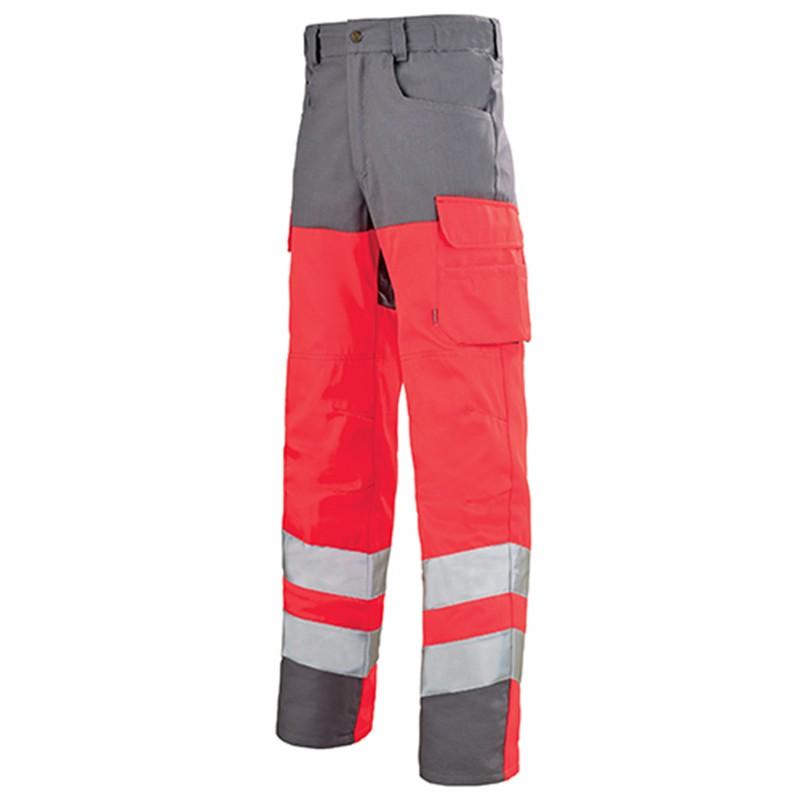 Pantalon de travail fluo ROUGE HIVI/ACIER Homme pas cher