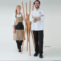 Veste de cuisine cuisine mixte Vego Robur, blanche revers beige