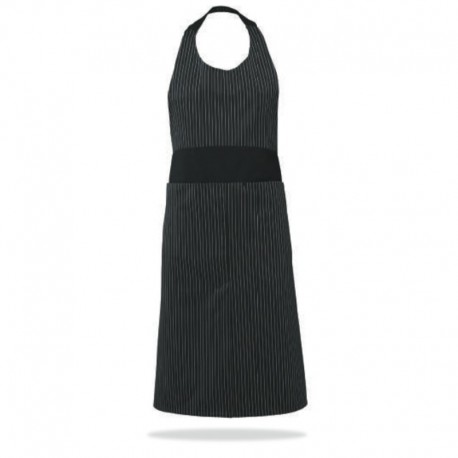 Tablier de cuisine femme noir rayures blanches Robur
