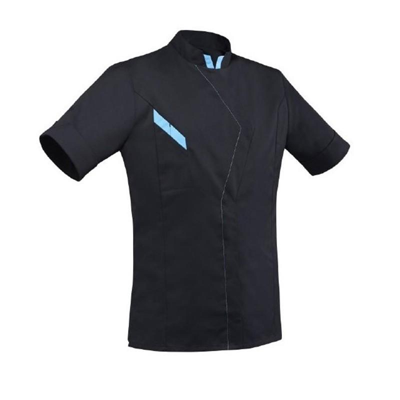 Veste de cuisine noire et bleu robur, manche courte, coupe originale