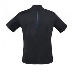 Veste de cuisine noire et bleu robur, polycoton, entretien en machine