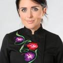 Capo da cucina nero motivo floreale