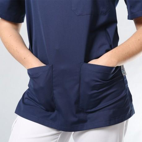 zoom poche tunique col v bleu marine