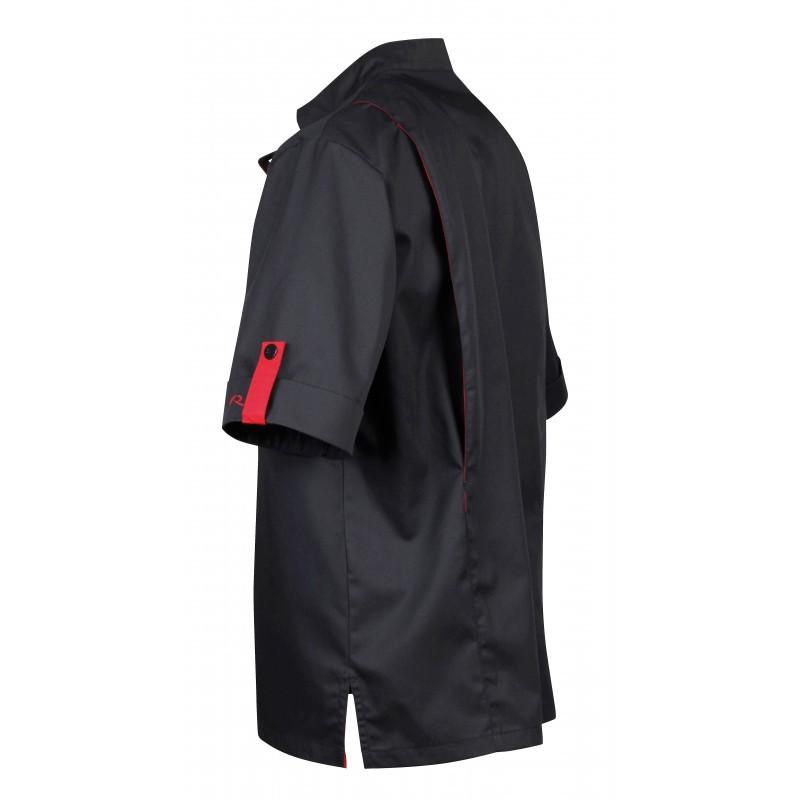 Veste de boucher noire liseré rouge Robur poche à stylo