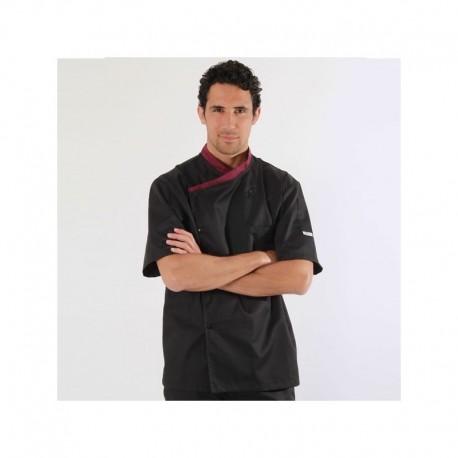 Veste de cuisine cintrée col aubergine