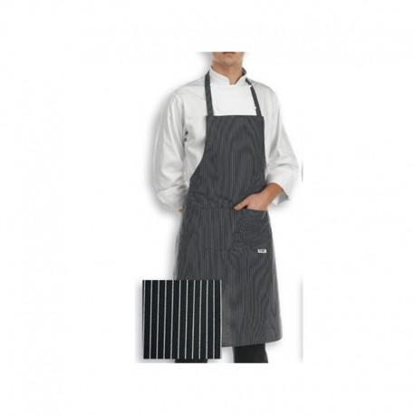 Tablier de Cuisine à bavette (motif noir rayure blanches fines)
