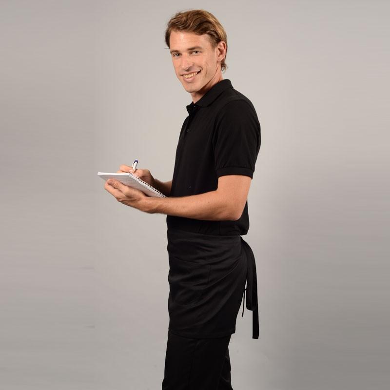 Tablier de cuisine noir Poche rouge droit
