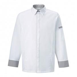 Veste chemise BASILIC BLANC/GRIS, aspect chemise, tissu de qualité, veste de cuisinier
