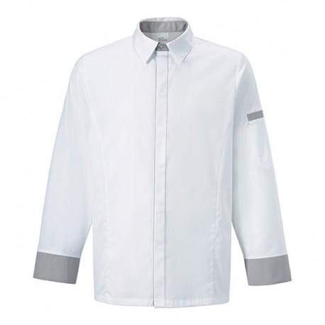 Giacca-camicia da cuoco Basilico bianca e grigia