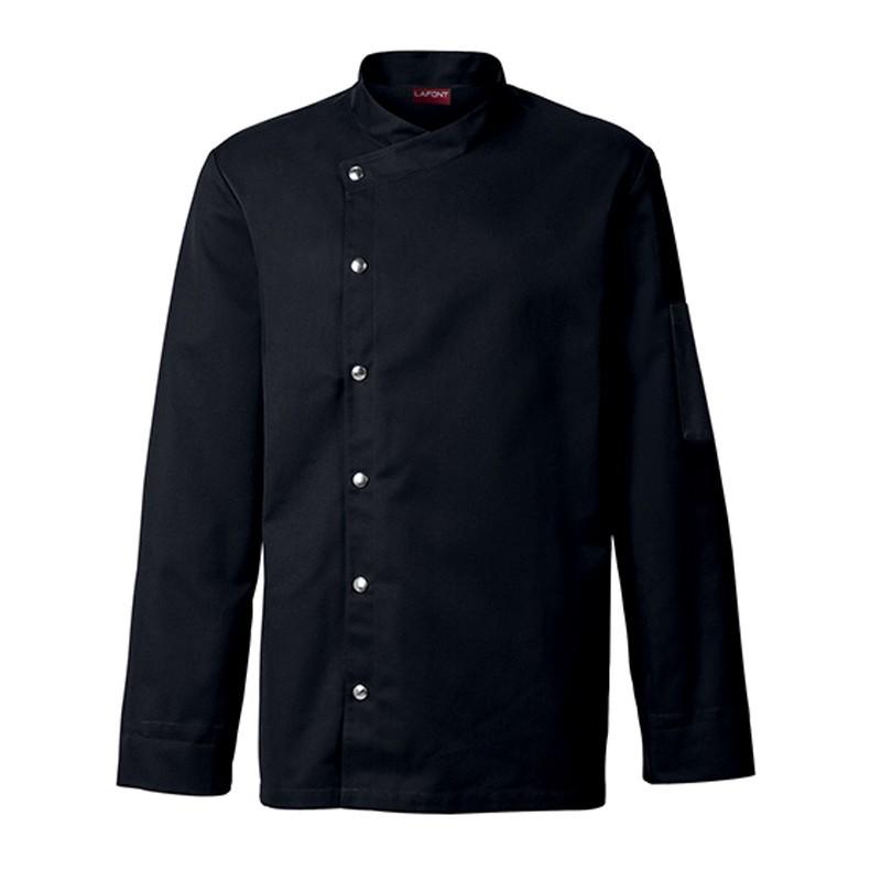 Veste de cuisine homme noire MOUTARDE, classique avec boutons pression côté, polycoton
