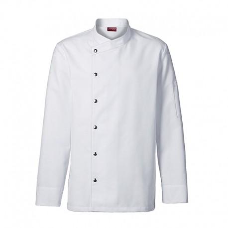 Veste de cuisine homme blanche MOUTARDE, classique, qualité supérieure, boutons pression asymétrique
