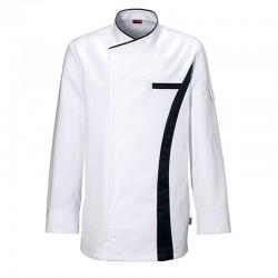 fe5da5523e8cb Veste de cuisine Coriandre Blanc Charcoal, veste pour cuisinier de qualité,  tissu polycoton