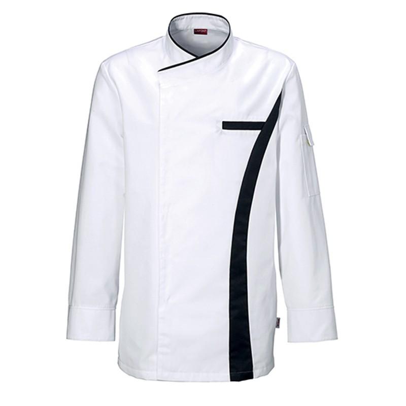 Veste de cuisine Coriandre Blanc/Charcoal, veste pour cuisinier de qualité, tissu polycoton pour haute température