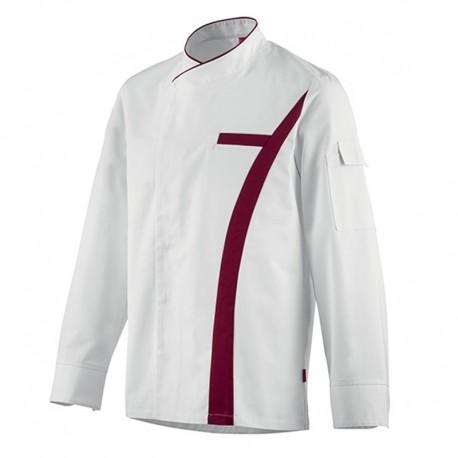 Veste de cuisine Coriandre Blanc/Bordeaux, bicolore, asymétrique, tissu polycoton, parfait pour cuisinier