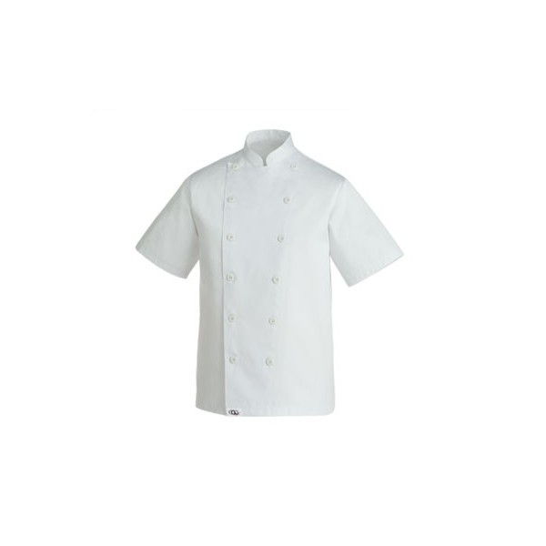 CLASSIC CHEF JACKET, blanche et sobre. Boutons à attacher