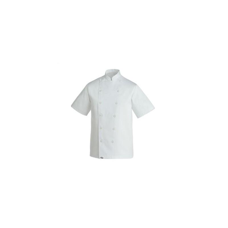 CLASSIC CHEF JACKET, blanche et sobre. Boutons à attacher