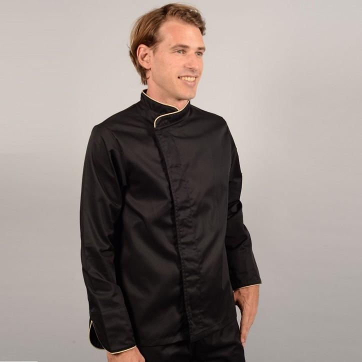 Veste de Cuisine Noire Liseré Beige profil, veste pour cuisinier pas cher