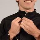 Veste de Cuisine Noire Liseré Beige detail, facile à boutonner