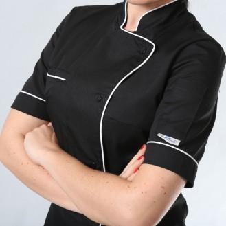 Giacca da cucina da donna nera con bordini bianchi ML zoom