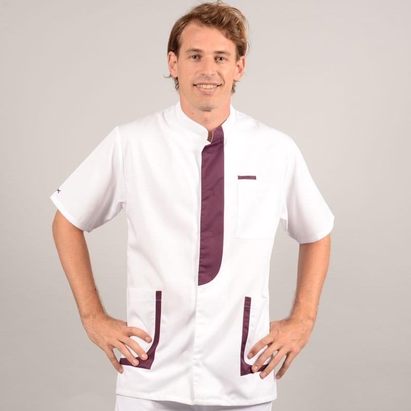 Blouse médicale homme 2LEE blanc & prune anteriore confortable pas cher
