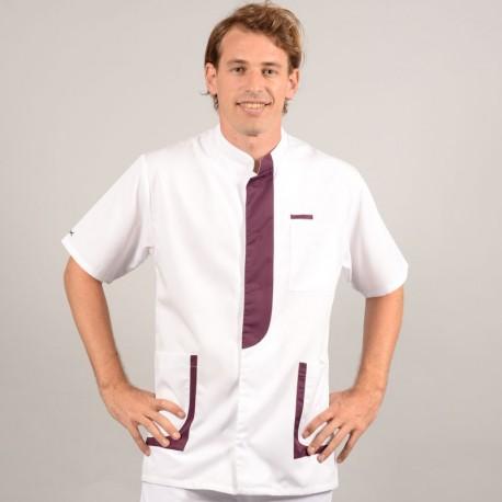 Blouse médicale homme 2LEE blanc & prune profilo confortables pas cher promotion été