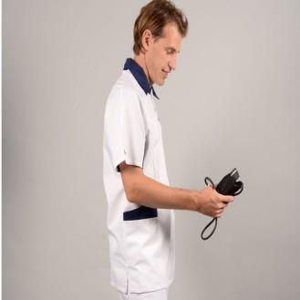 Casacca da medico per uomo bianca e blu 2LUC profilo