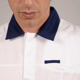 Casacca da medico per uomo bianca e blu 2LUC zoom