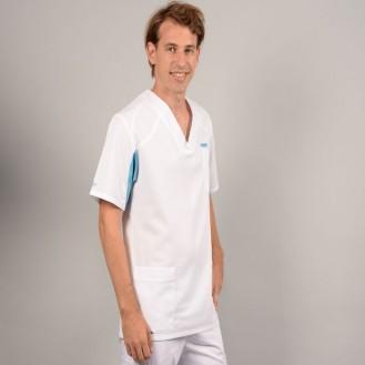 Tunica medica uomo 2SAH bianco e blu cielo profilo