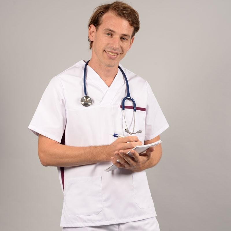 Tunique médicale homme 2SAH blanc & prune