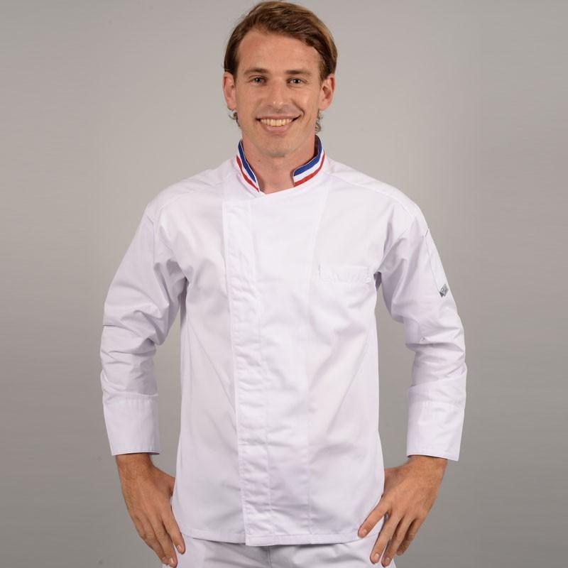 veste de cuisine mof col bleu blanc rouge broderie