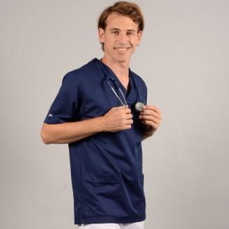 Casacca da medico per uomo 2SAH bianca e blu marino profilo