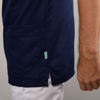 Casacca da medico per uomo 2SAH bianca e blu marino zoom